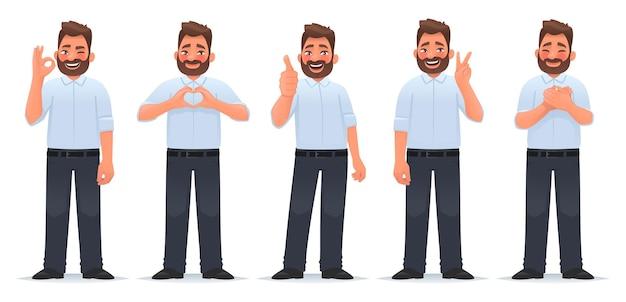 Conjunto de gestos positivos e de aprovação homem feliz mostra gesto de gratidão ok, vitória de coração legal