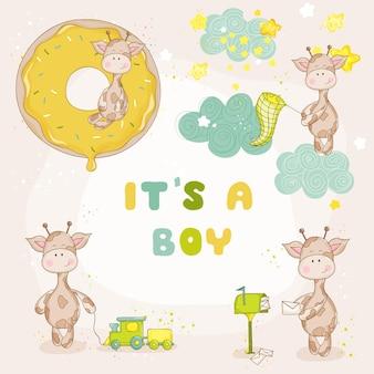 Conjunto de girafa bebê menino - chá de bebê ou cartão de chegada - em