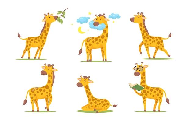 Conjunto de girafa de desenho animado