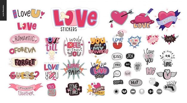 Conjunto de girlie contemporânea carta de amor