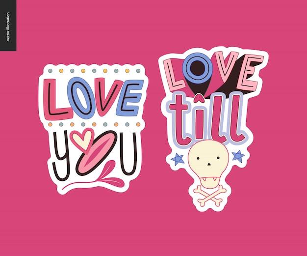 Conjunto de girlie contemporânea logotipo de carta de amor