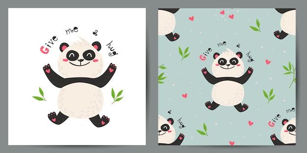 Conjunto de giro cartão postal e padrão sem emenda com pandas.