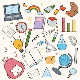 Conjunto de giro de volta ao doodle da escola