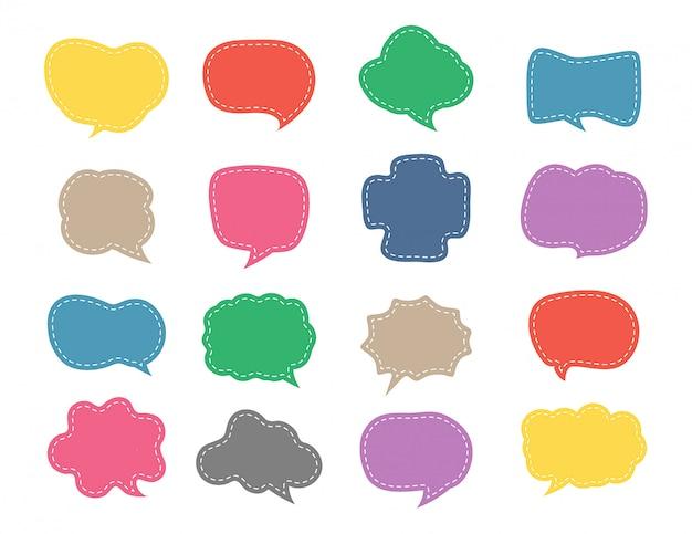 Conjunto de giro discurso bolha colorida