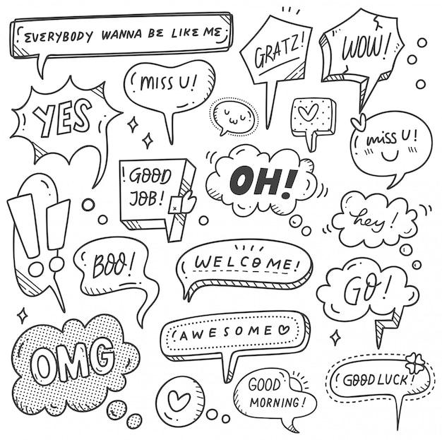 Conjunto de giro discurso bolha no estilo doodle