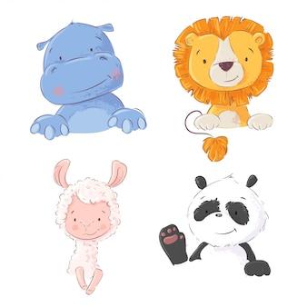 Conjunto de giro hipopótamo de animais tropicais, leão, lhama e panda
