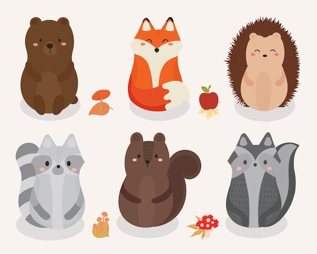 Conjunto de giro ilustração de animais da floresta.