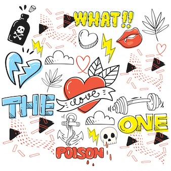Conjunto de giro mão desenhada doodles