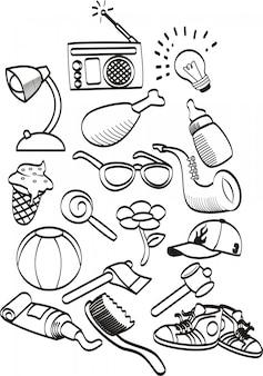 Conjunto de giro mão desenhada