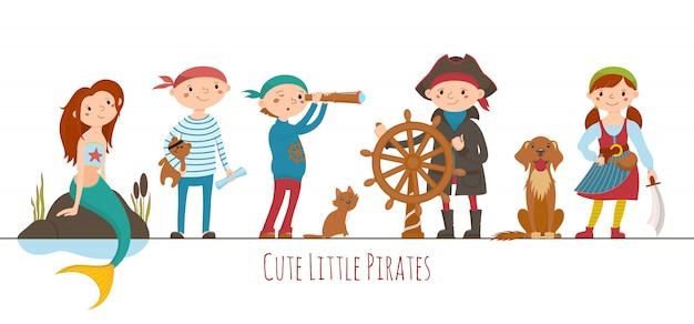 Conjunto de giro pequeno pirata, crianças de marinheiro e sereia. crianças vestidas como piratas para o halloween ou festa de aniversário