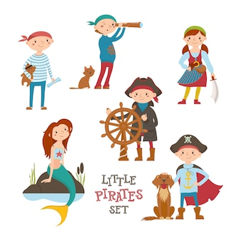 Conjunto de giro pequeno pirata, marinheiro crianças e sereia, desenhos animados