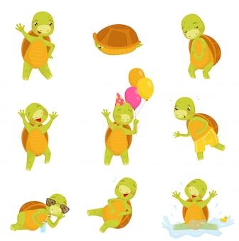 Conjunto de giro tartaruga verde em diferentes ações réptil engraçado com casca marrom. ícones planas isolados