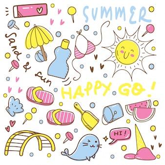Conjunto de giro verão mão desenhada doodles