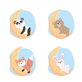 Conjunto de giros animais selvagens na lua