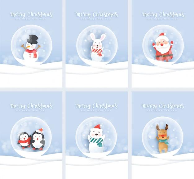 Conjunto de giros cartões de natal com papai noel e animais fofos no estilo de corte e artesanato de papel.