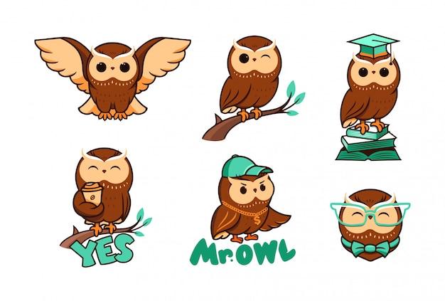 Conjunto de giros corujas. logotipos da coleção