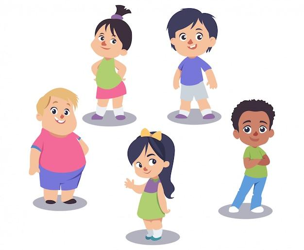 Conjunto de giros crianças isolado no branco