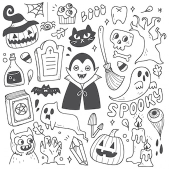 Conjunto de giros doodles de halloween