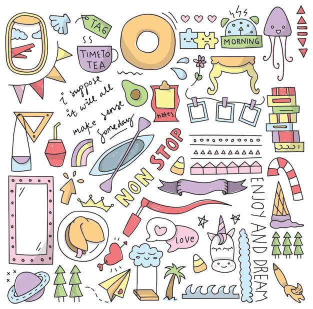 Conjunto de giros doodles isolado no branco
