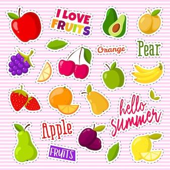 Conjunto de giros frutas sob a forma de um remendos retrô