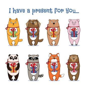 Conjunto de giros pequenos animais e animais de estimação segurando presentes