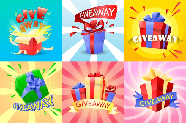 Conjunto de giveaway com presentes e arco