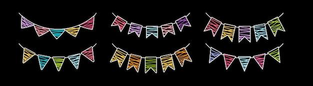 Conjunto de giz de festa de aniversário guirlanda bandeira. aniversário, festa de celebração, coleção multicolorida de bandeiras