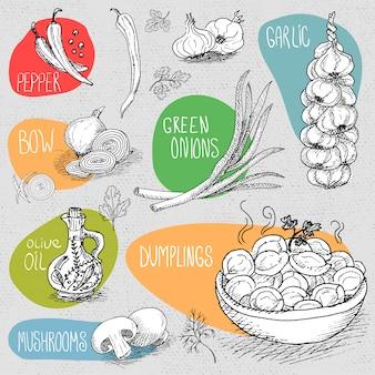 Conjunto de giz desenhado sobre uma comida de quadro-negro, especiarias.