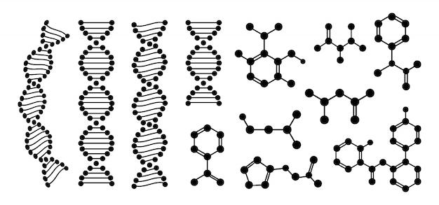Conjunto de glifo plana átomo químico estrutura molecular. molécula de dna estrutura abstrata. ciência química, estrutura molecular, silhueta de proteína preta de célula de laboratório. ilustração
