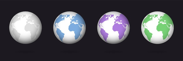 Conjunto de globo da cor da terra