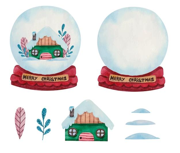 Conjunto de globo de bola de neve de natal em aquarela