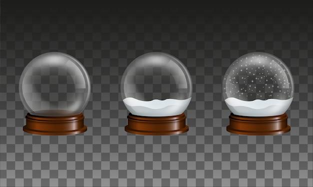 Conjunto de globos de neve de vidro transparente. globo vazio e globos com neve e neve caindo.