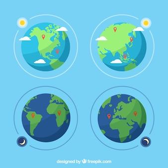 Conjunto de globos terrestres em design plano com mapas pin