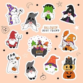 Conjunto de gnomo de halloween fofo e gato na coleção de adesivos de desenhos animados de festa à fantasia.