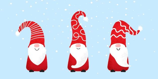 Conjunto de gnomos de natal com chapéus engraçados