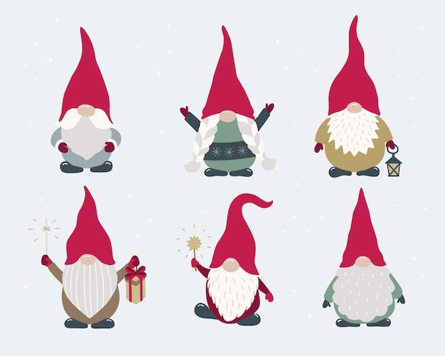 Conjunto de gnomos scandi isolados. personagens de desenhos animados