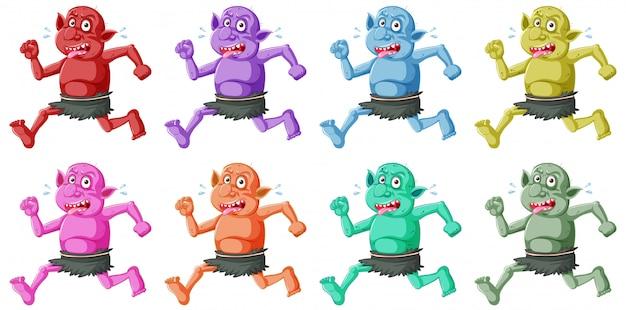 Conjunto de goblin colorido ou troll executando pose com cara engraçada no personagem de desenho animado isolado