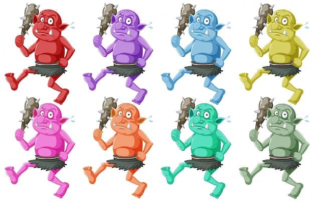 Conjunto de goblin colorido ou troll segurando a ferramenta de caça em personagem de desenho animado isolada