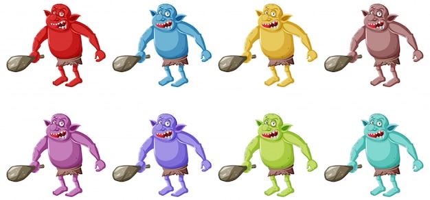 Conjunto de goblin colorido ou troll segurando a ferramenta de caça em personagem de desenho animado