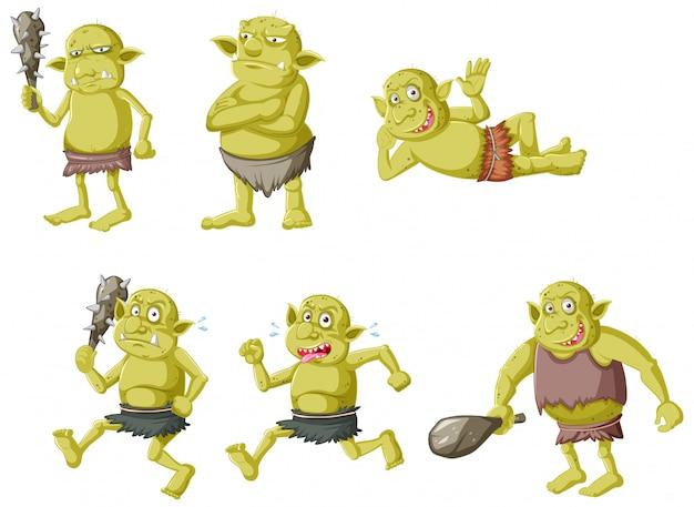 Conjunto de goblin verde ou troll em poses diferentes em personagem de desenho animado isolado