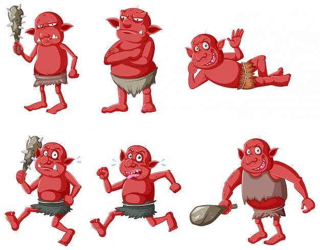 Conjunto de goblin vermelho ou troll em poses diferentes em personagem de desenho animado isolado