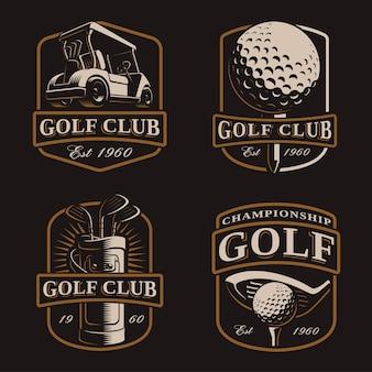 Conjunto de golfe com logotipos vintage