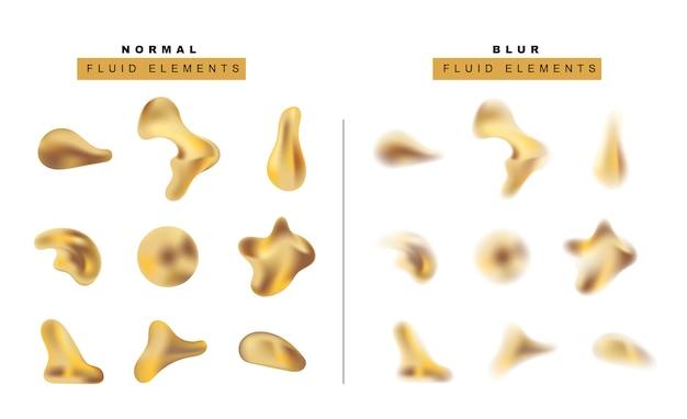 Conjunto de gota de líquido metálico dourado realista