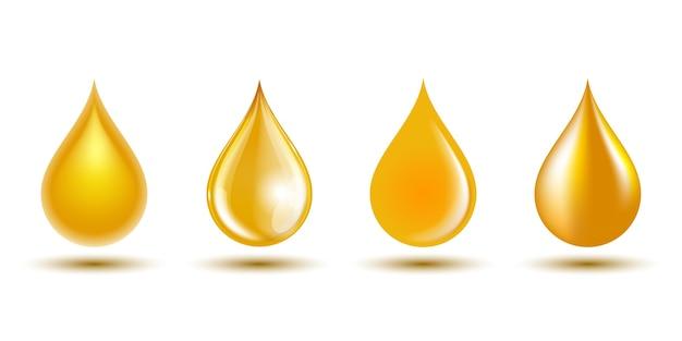 Conjunto de gotas amarelas isoladas no fundo branco. de petróleo, óleo de cozinha, mel, símbolo de líquidos naturais.