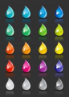 Conjunto de gotas coloridas com reflexão