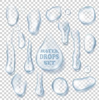 Conjunto de gotas de água isoladas