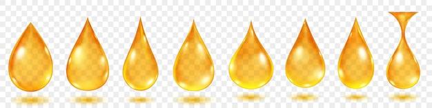 Conjunto de gotas de água translúcidas em cores amarelas em várias formas, isoladas em fundo transparente. transparência apenas em formato vetorial
