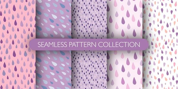 Conjunto de gotas de chuva doodle padrão sem emenda. gotas azuis e roxas.