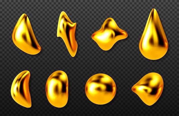Conjunto de gotas de ouro líquido