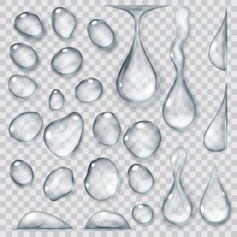 Conjunto de gotas transparentes de diferentes formas em tons de cinza. transparência apenas em formato vetorial